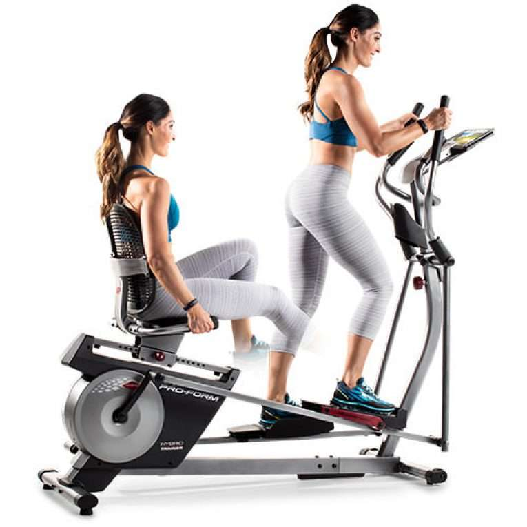 woman alternating between elliptical and exercisebike on Proform Hybrid Trainer XT